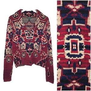 LRL Southwestern Aztec Shawl Cardigan Sweater L